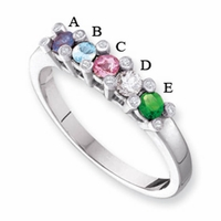 14k Mother's Ring with 5 Genuine Birthstones and Diamond Accents