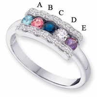 14k Mother's Ring with Five Genuine Birthstones and Diamond Accents