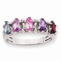 14k Mother's Ring with Five Marquise Cut Birthstones