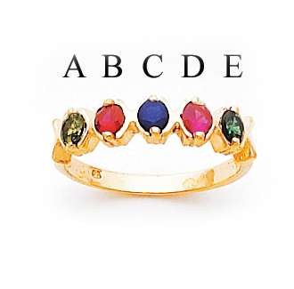 14k Mother's Ring with Five Personalized Birthstones