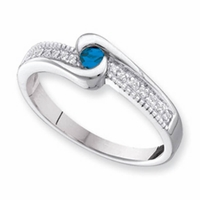 14k Mother's Ring with Genuine Birthstone and Diamond Accents