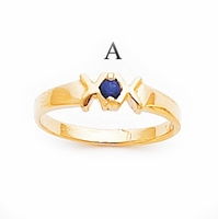 14k Mother's Ring with One Genuine Birthstone