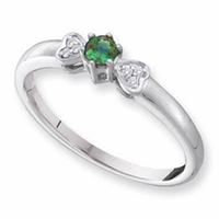 14k Mother's Ring with One Genuine Birthstone and Diamond Hearts