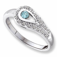 14k Mother's Ring with One Personalized Birthstone and Diamond Accents