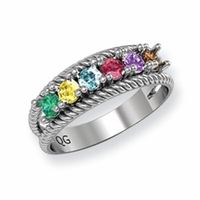 14k Mother's Ring with Six Birthstones