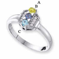 14k Mother's Ring with Three Genuine Birthstones and Diamond Accents