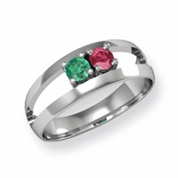 14k Mother's Ring with Two Birthstones and Split Shank