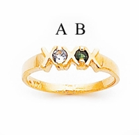 14K Gold XOXO Mothers Ring with Two Birthstones