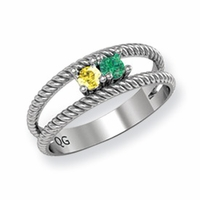 14k Mother's Ring with Two Personalized Birthstones