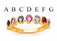 14k Personalized Mother's Ring with Seven Birthstones
