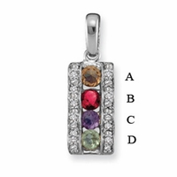 14k Rectangular Mother's Pendant with Four Genuine Birthstones