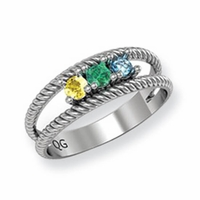 14k Ring for Mother with Three Birthstones