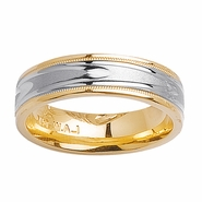 14k Two Tone Gold Ring with Comfort Fit in 6mm