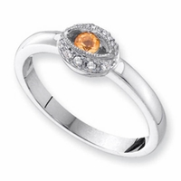 14k Unique Mother's Ring with One Personalized Birthstone and Diamonds