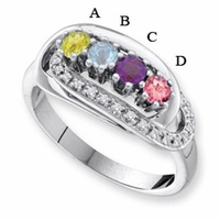 14k White or Yellow Gold Custom Mother's Ring with Four Birthstones