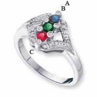 14k White or Yellow Gold Custom Mother's Ring with Three Birthstones