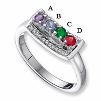 14k White Gold Mother's Day Ring with Four Birthstones