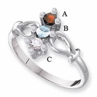 14k White or Yellow Gold Mother's Ring with 3 Genuine Birthstones