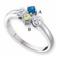 14k White or Yellow Gold Mother's Ring with Genuine Stones
