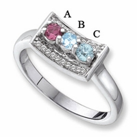 14k White Gold Mother's Ring with Three Genuine Stones