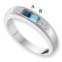14k White or Yellow Gold Ring for Mother with Two Birthstones