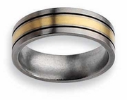 14k Yellow Gold & Black Inlay Titanium Ring Matte Finish in 7mm