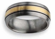 14k Yellow Gold & Black Inlay Titanium Ring Matte Finish in 8mm