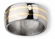 14k Yellow Gold Inlay Titanium Ring Polished Finish in 11mm