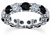 Black and White Diamonds Eternity Wedding Band
