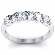 Five Stone Round Diamond Anniversary Band One Carat