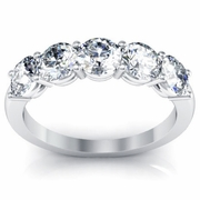 Five Stone Round Diamond Anniversary Wedding Band 1.50cttw