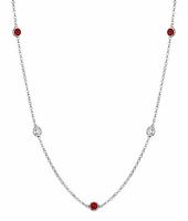 By the Inch Necklace with Diamond and July Birth Stone