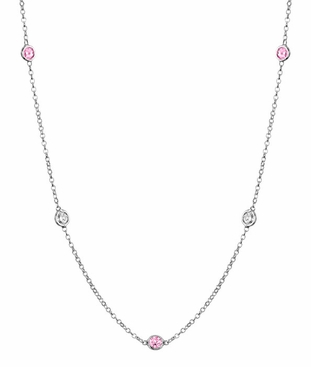 Diamonds and Pink Sapphires by the Inch Necklace - click to enlarge