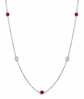 Diamonds and Rubies Bezel Set into Women's Necklace
