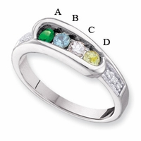 14kt Gold Birthstone Mother's Ring Engravable with Four Birthstones