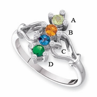 Four Stone Personalized Mothers Ring