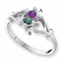 14kt Gold Birthstone Mother's Ring with Two Personalized Birthstones