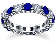 Diamond and Sapphire Eternity Ring 4 Carat