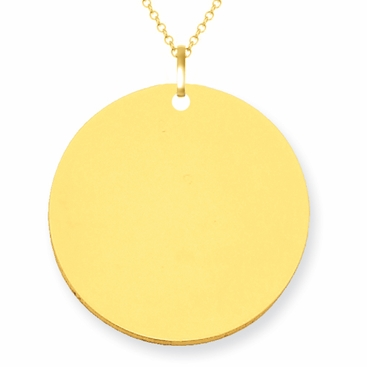14kt Gold Disc Pendant Necklace 23mm - click to enlarge