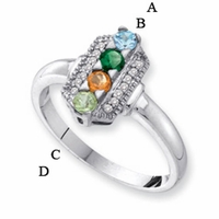 14kt Gold Family Ring for Mom with Four Birthstones