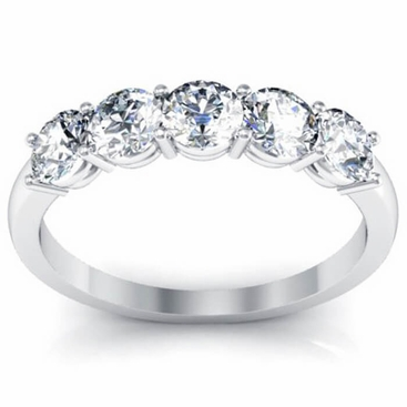 One Carat Five Stone Round Diamond Band - click to enlarge
