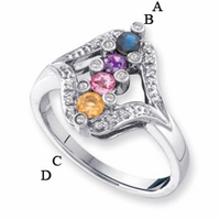 14kt Gold Ring for Mom with Four Birthstones