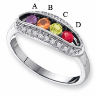 14kt Gold Ring for Mom with Four Custom Birthstones and Diamonds