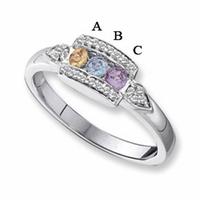 14K White Gold Three Stone Mothers Ring