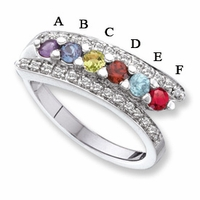 14kt Mother's Day Ring with 6 Genuine Birthstones and Diamond Accents