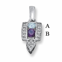 14kt Mother's Pendant with Two Genuine Birthstones