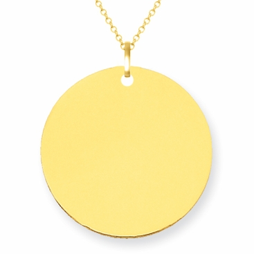 14kt Yellow Gold Initial Disc Necklace 19mm - click to enlarge