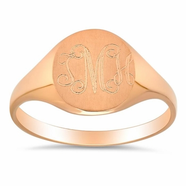 14kt Yellow Gold Signet Ring For Women - click to enlarge