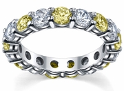 Yellow Sapphire and Diamonds Eternity Band
