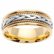 18k Yellow Gold Mens Ring with Platinum Braided Center